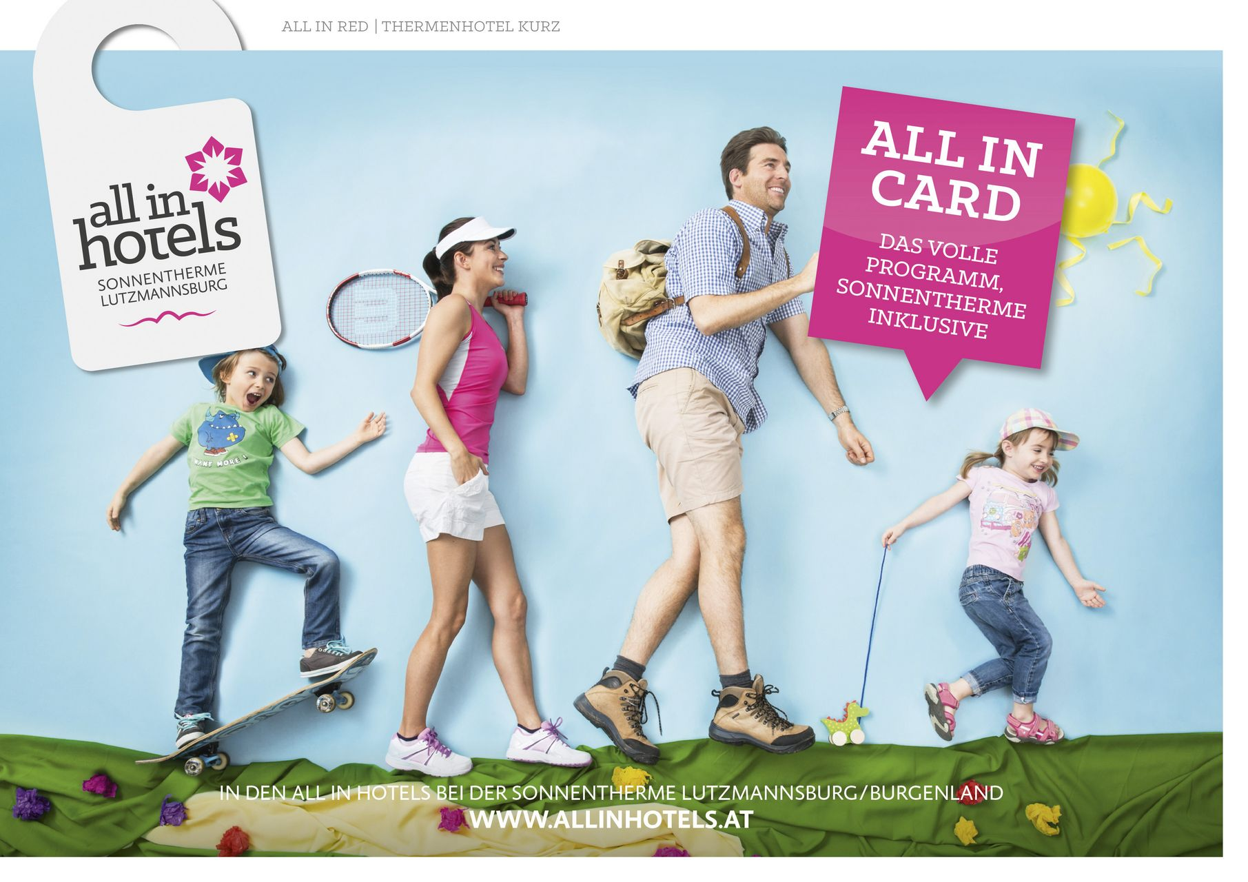 ALL IN Hotels - Glückliche Familie beim Wandern, Tennis, Schwimmen, Golfen, Minigolf, Skaten,  mit der ALL IN CARD